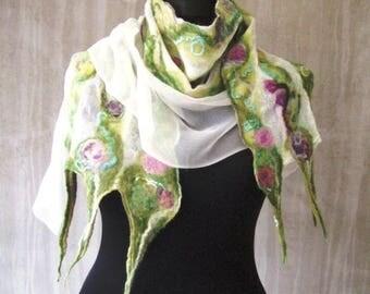 Pastel Spring fashion nuno felt silk scarf long floral feminine luxury merino Bohemian clothing