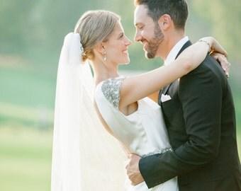 ivory silk wedding veil, silk bridal veil, silk tulle veil, chapel length silk wedding veil, fingertip silk veil, ivory bridal veil