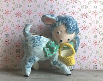 Vintage Blue Lamb Planter Yellow Basket green Bow Easter Baby Decoration Springtime Nursery