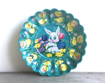 Vintage 1950's 1960's  Easter Egg Plate Plastic Molded Plate Bunny Chicks Aqua Yellow Spring
