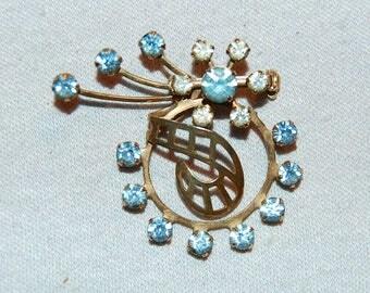 Vintage / Brooch / Rhinestone / Blue / clear / old jewellery / jewelry