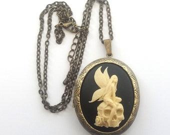 Skull Fairy Cameo Locket, Black and Cream, Gothic Necklace, Kneeling Fairy on a Skull, Locket Necklace, Bronze or Gunmetal Finish