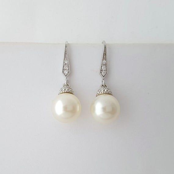 Wedding Earrings Bridesmaid Gift Pearl Earrings Pearl Bridal Earrings Swarovski Cream White Ivory Pearl Drops Bridesmaid Earrings, Abigail