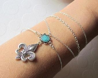 Fleur de lis Bangle Wrap Bracelet New Orleans Jewelry Fleur de lis Charm Bracelet for Mardi Gras Bangle Silver Fleur de lis Armlet Chain
