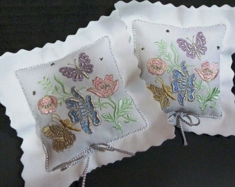 Swarovski Studded Set of Two Embroidered Lavender Sachets with Soft Pastel Flowers and Butterflies Enhanced with Silver Metallic Thread