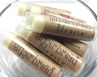 Gingerbread Lip Balm -  Natural Lip Balm, Cocoa Butter Lip Balm, Beeswax Lip Balm