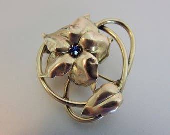 Vintage Brass Floral Blue Rhinestone Brooch Pin
