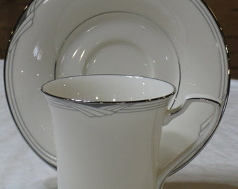 """Discontinued New Unused Noritake """"Sterling Cove"""" Cup & Saucer"""