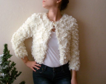 Fur bolero shrug short jacket cape knit Jacket one button fluffies Romantic Soft wedding accessories shrug