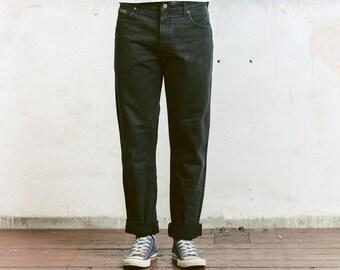 "Vintage Wrangler Jeans . Men's Unisex Jeans Straight Leg Size 34"" Black Jeans Tappered Distressed Denim Dad Jeans"