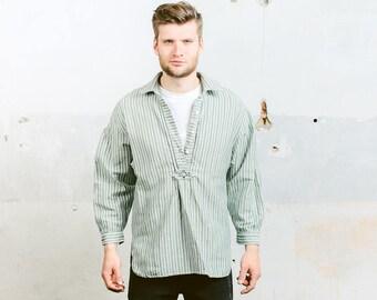 Austrian Folk Costume Shirt . Vintage 80s Striped Hippie Work Shirt Traditional Linen White Green Minimalist Shirt . size Medium