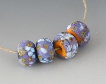 Rustic Sedona Nuggets- (4) Handmade Lampwork Beads -  Lavender, Orange