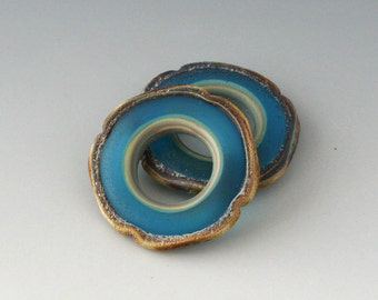 Rustic Square Discs - (2) Handmade Lampwork Beads - Aqua