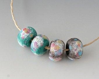 Rustic Sedona Nuggets- (4) Handmade Lampwork Beads -  Teal Green, Pink