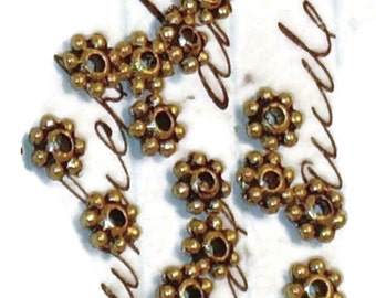 Vintage Daisy Spacers Brass Flower Beads antique Gold Tone 4mm. #1335K