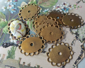 18x13mm Vintage Settings Connectors Antique Brass Oval Cabochon Lace loops NOS Victorian  #696M
