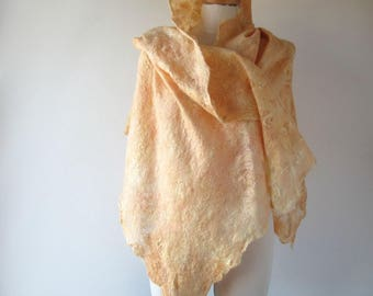 Felted scarf pastel scarf Cobweb felt shawl Peach pastel Women Wedding Airy scarf , peach scarf, Light Lace Scarf ,  by Galafilc