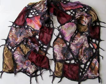 Nuno Felted scarf net, Geometric scarf  silk scarf , Purple Brown Pink women felt scarf, women silk scarf Original scarf by Galafilc