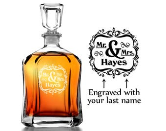 Mr. and Mrs. Newlywed Couples Personalized  Engraved Glass Decanter For Wife Husband Just Married  Bride Groom Liquor Decanter Wedding Gift