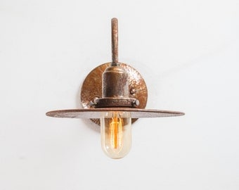 Wall Sconce Lighting - Rustic Steel Industrial Gooseneck Barn Sconce - The Waycaster - Farmhouse Gas Station Warehouse Shade - UL Listed