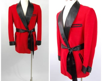 Early 1950s Mens Smoking Jacket - Red and Black - Red Corduroy and Black Satin