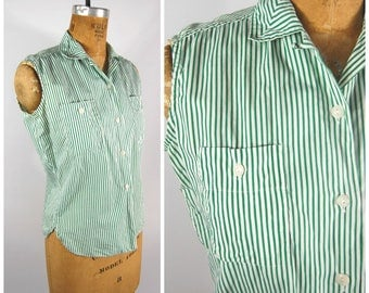 1950s Green and White Striped Cotton Top // Sleeveless Tank Button Down - Lightweight Summer Shirt