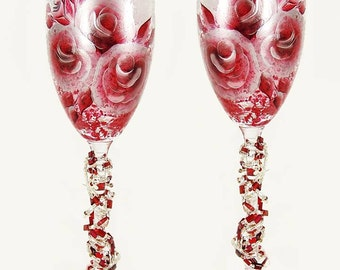 Hand Painted Champagne Glasses w Beaded Stems - Ruby Red and Silver Roses - Wedding Toast Flutes 25th 35th Anniversary Gifts