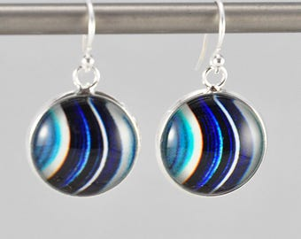 Blue Saturn - Earrings -  Sterling Silver Ear Wires - Photography - Handmade - Unique Gift - Matching Bracelet Available -  Wearable Art!