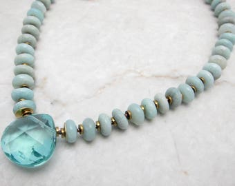 Mint Stone Necklace. Aqua Briolette Pendant. Chunky Stone Pendant. Raw Amazonite Necklace. Big Stone Pendant. TaraLynEvans. CAELA