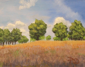 "Original oil, landscape painting, trees and sky, 6""x8""."