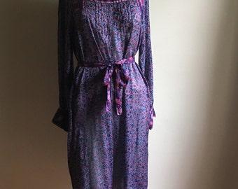 60s 70s Rare Silk Indian Gauze Blue Vintage Dress • Free Size Dress • Gauze Cotton Dress
