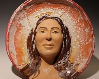 Ceramic Wall Art, Woman with a Halo, Figure Sculpture Portrait Bust Platter Crackle Texture, Face Pot