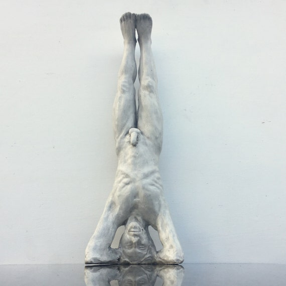 Yoga Art Headstand Sculpture Naked Man Sirshasana Mature Male