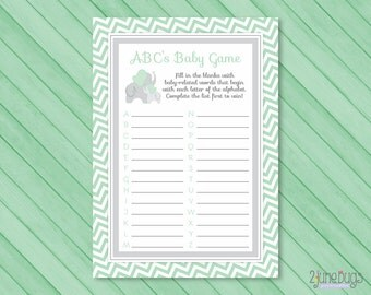 Elephant Baby Shower ABCs Baby Game Mint Green and Gray, PRINTABLE, INSTANT DOWNLOAD