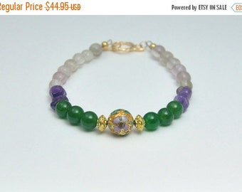 Green Jade and Amethyst Bracelet Vintage Gold Cloisonne Purple and Green Spring Bracelet