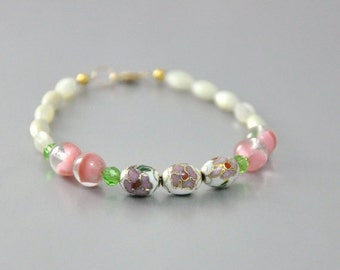 Dainty Bracelet Pink Cloisonne Vintage Art Glass and Pearls