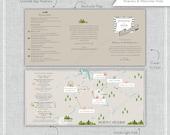 Custom Wedding Map with Itinerary, Wedding Map Invitation-- Cashers, North Carolina (Tri-fold) Listing for Mary Jane