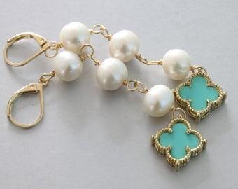 Pearl Long Earrings, Casual Earrings, Quatrefoil Earrings, Blue Flower Earrings, Lucky Flower, Four Leaf Flower Earrings, Pearl Earrings