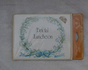 Bridal Luncheon 8 Vintage Invitation Cards, Pale Blue Flowers, Wreath