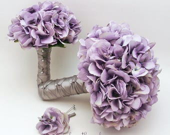 Reserved for Michelle - Bridal Bouquet Lavender Silk Hydrangea Groom Boutonniere Bridesmaids Bouquets Groomsmen Boutonnieres