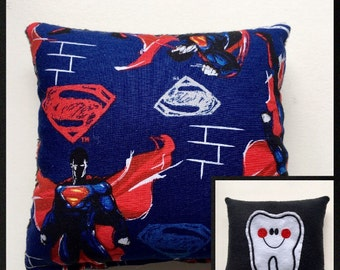 Superman Tooth Fairy Pillow, Tooth Pillow Pocket, Child Pillow, Boy Pillow, Super man Tooth Pillow, Boy Gift, Easter Gift