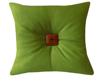 """Greenery Linen Tuft Throw Pillow, Linen Pillows, Green Throw Pillows, 18"""" x 18"""" Cushions, Mid-Century Modern Pillows, Summer Home Decor"""