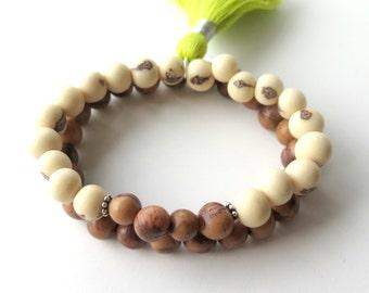 White Brown Boho Stacking Bracelet / Neutral Colours Natural Organic Seed Bead Bracelet / Eco Friendly Acai Seed / Tribal Beadwork Bracelet