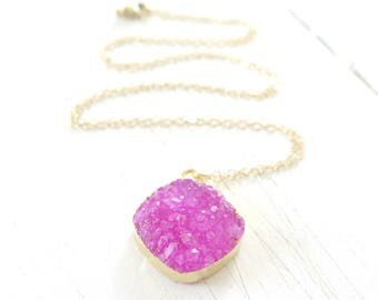 Druzy Necklace Gold Edged on 14K Gold Chain, Hot Pink Druzy Necklace, Boho Necklace, Crystal Layering Necklace, Druzy Pendant,Summer Fashion