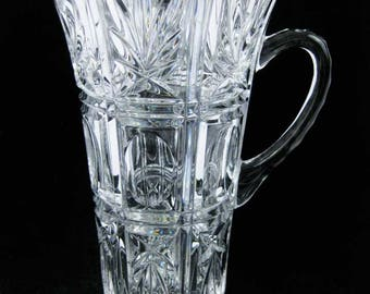 Crystal Clear Glass Pitcher Thumb Print Ovals Shooting Stars