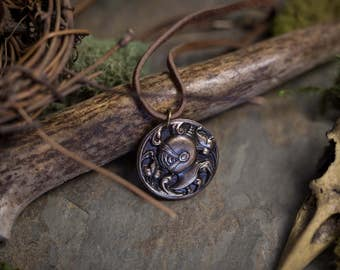 Unisex Bronze Knight Pendant with Leather Cord