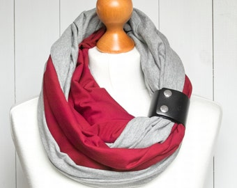 Infinity scarf with leather cuff, infinity scarves by ZOJANKA, lightweight scarf made of two scarves, grey and blue, scarf with cuff