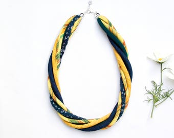 YELLOW necklace, statement textile necklace, fabric jewelry, eco style necklace, upcycled necklace, textile necklaces, summer jewelry