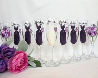 EXACT DRESS REPLICAS, Hand Painted Personalzied Wine Glasses, Purple Dresses, Bridesmaid Gifts, Bridesmaid Champagne Glasses, Bridal Gifts