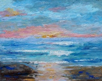Sunset Black's Beach San Diego painting original oil palette knife impressionism on canvas 24x30 fine art by Karen Tarlton